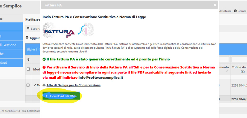 download file xml fattura pa